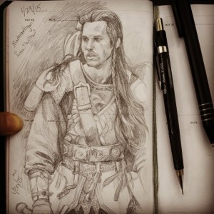 A two day sketch - Madmartigan from Willow - oh Val Kilmer!