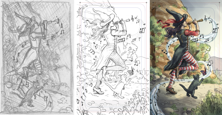 1. Thumbnail sketch. 2. Final drawing. 3. Digital color rough.