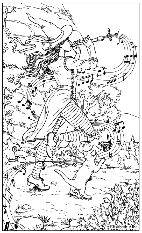 Line Art Of Judgment From Everyday Witch Tarot For Llewellyns Witchs Coloring Book Ink And Digital